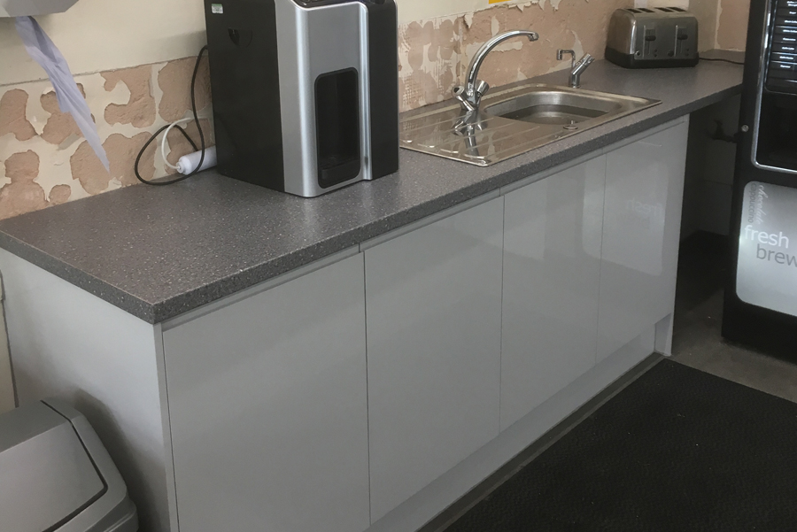 Kitchenette Cabinets and Worktops Replacement Project Ashbourne